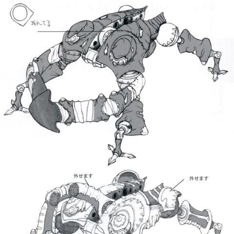 Concept art of Mech Defender (top) and Mech Hunter (bottom).