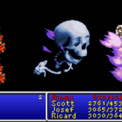 Death8 cast on the party in <i>Final Fantasy II</i> (GBA).