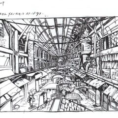 Early concept art of Wall Market.