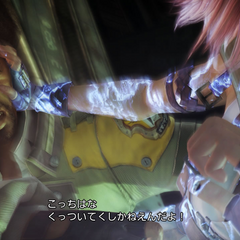 Sazh with Lightning in the Hanging Edge.