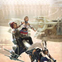 Promotional artwork of Balthier, Ashe, and Fran.