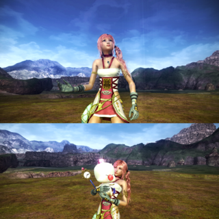 Serah and Mog's victory pose.