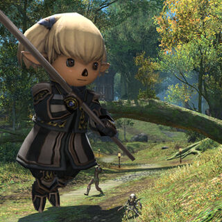 Shantotto's enlarged doll in <i>Final Fantasy XIV</i>.