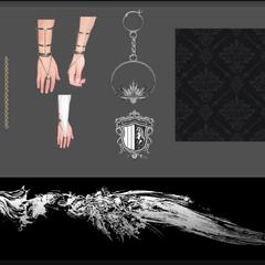 Concept art of Lunafreya's accessories.