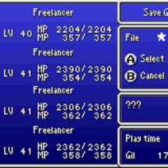 The Save menu in the GBA version.