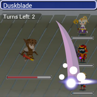 Duskblade in battle.