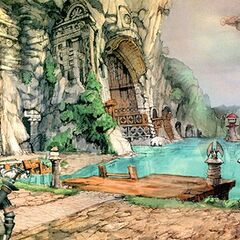 Steiner appearing in concept art for Lindblum port.