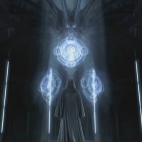 The Hooded Man beholds the Crystal Chamber of Lucis.
