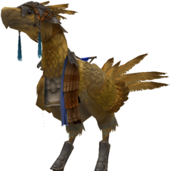 Render of an armored chocobo.
