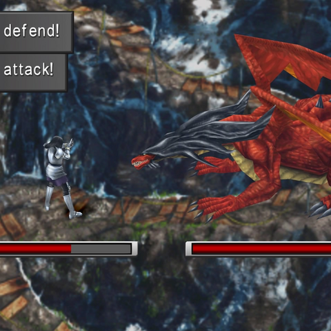 Laguna fights a Ruby Dragon in Vienne Mountains.