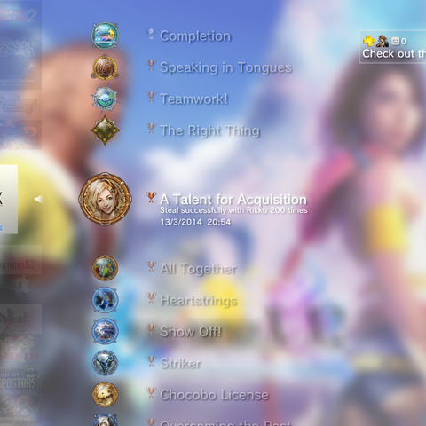 <i>Final Fantasy X HD Remaster</i> trophies list on the PlayStation 3 menu.