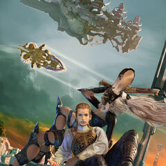 Promotional artwork of Balthier and Fran.