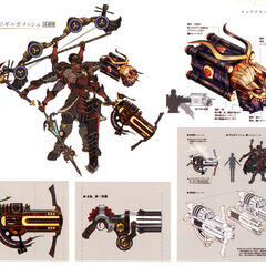 Concept artwork of Gilgamesh and his various weapons.