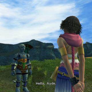 Yuna says hello to Ayde.