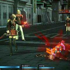 Rem absorbs red phantoma from a fallen foe (PSP).