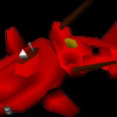 World Map model of red submarine.