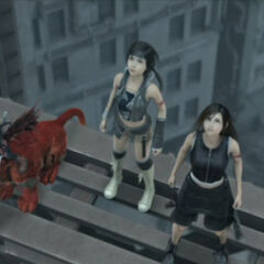 Yuffie, Tifa, Red XIII and Cait Sith in <i>Advent Children</i>.