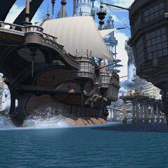 A ship in Limsa Lominsa port.