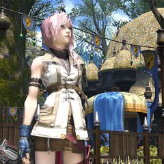 Lightning meets with the Adventurer in Eorzea.