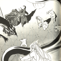 Artwork of Rydia rescuing the party from Golbez, from the official novelization.