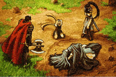 File:Eliwood, Hector, Lyn and Nils mourning over Ninian's death.JPG