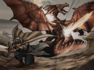 Marth slaying a dragon