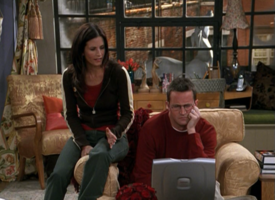 Chandler & Monica Looking at the Laptop