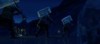 Ice harvesters with ice blocks
