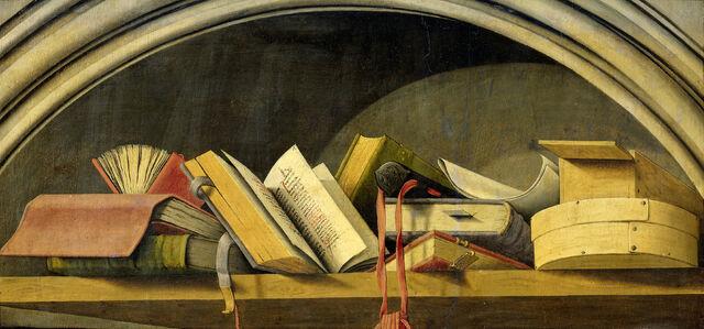 Fichier:Nature morte aux livres - Triptyque de l'Annonciation d'Aix - Rijksmuseum.jpg