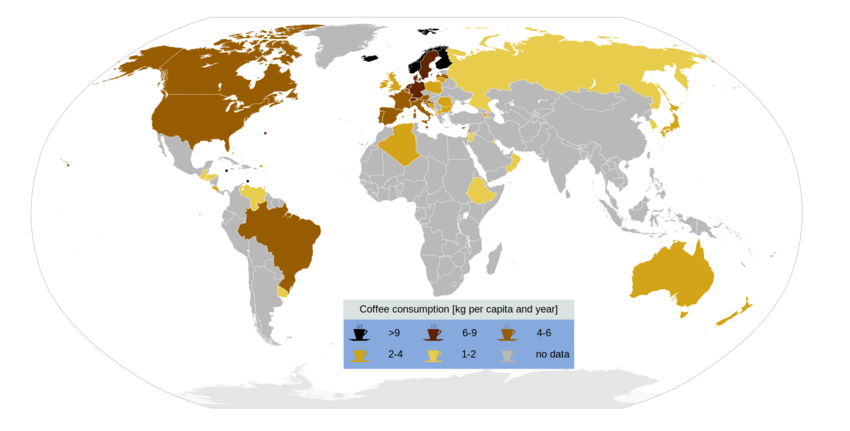 Coffee consumption map-en
