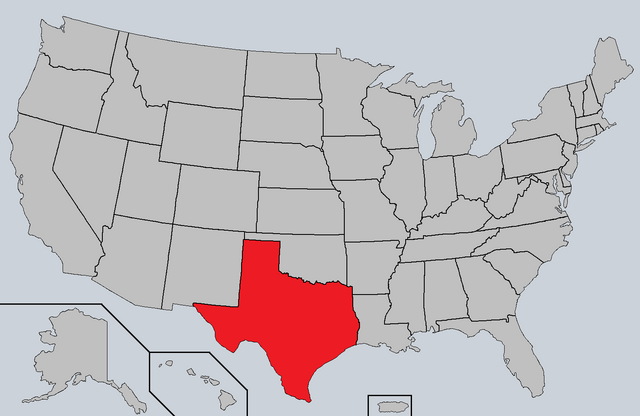 File:Map of the United States with Texas highlighted.png