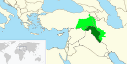 Territory Controlled by the Republic of Kurdistan (green) + Territory claimed by the Republic of Kurdistan (light green)