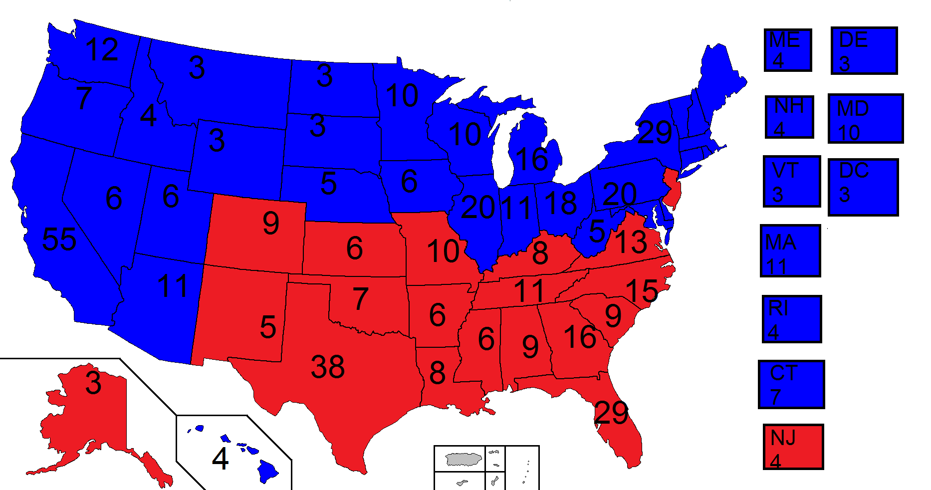 Us Presidential Election - Us map of electoral college 2016