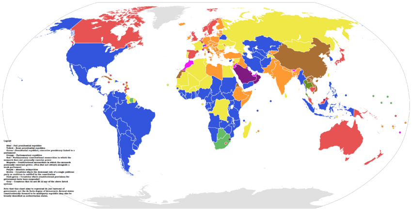 Forms of government World Map
