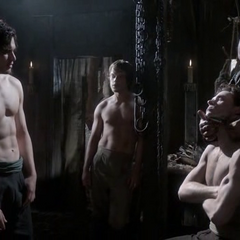 Jon, Robb, and Theon visit the barber at Winterfell in