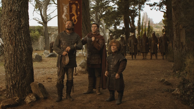 File:Podrick with tyrion and bronn waiting for doran martell.png