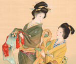Shoen Uemura-Scroll-Geisha Dressing With Attendant-zoom-03-10-2007-8348
