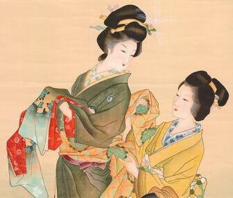 Shoen Uemura-Scroll-Geisha Dressing With Attendant-zoom-03-10-2007-8348