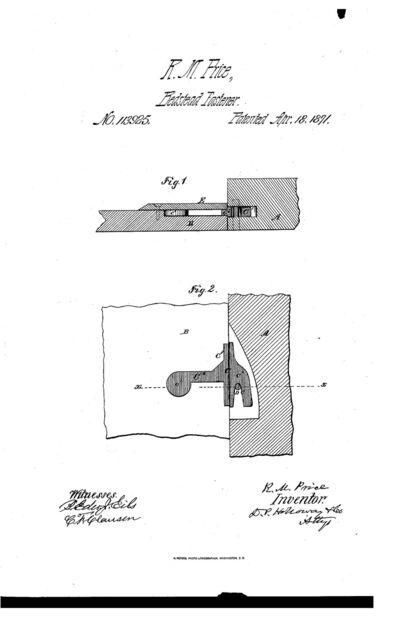 Rezin Millings Price (1840-1923) patent of April 18, 1871