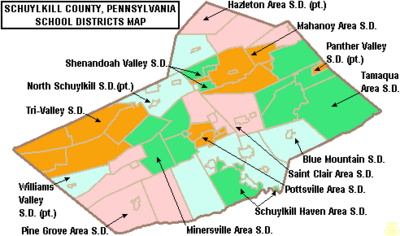 Map of Schuylkill County Pennsylvania School Districts
