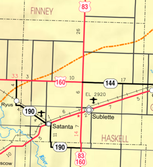 Map of Haskell Co, Ks, USA
