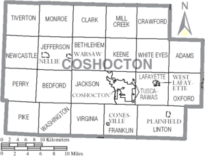 Map of Coshocton County Ohio With Municipal and Township Labels
