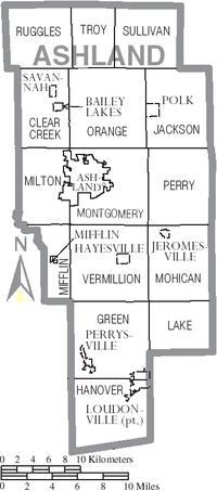 Map of Ashland County Ohio With Municipal and Township Labels
