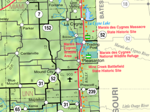 Map of Linn Co, Ks, USA