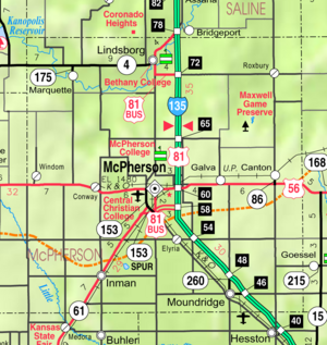 Map of McPherson Co, Ks, USA