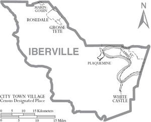 Map of Iberville Parish Louisiana With Municipal Labels