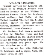 LeBaron Hart Lindauer (1878-1945) obituary