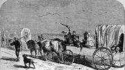 Bundesarchiv Bild 137-005007, Zeichnung, Deutscher Einwandererzug in Texas