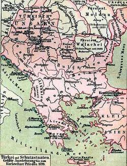 Türkei und Schutzstaaten Größte Ausdehnung bis zum Karlowitzer Frieden 1699