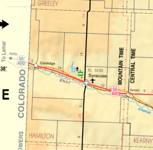 Map of Hamilton Co, Ks, USA